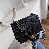 Женская большая сумка на толстой цепочке с подковой на три отдела черная, фото 3
