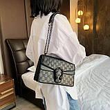 Женская большая сумка на толстой цепочке с подковой на три отдела черная, фото 2