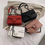 Женская большая сумка на толстой цепочке с подковой на три отдела черная, фото 5
