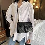 Женская большая сумка на толстой цепочке с подковой на три отдела черная, фото 4