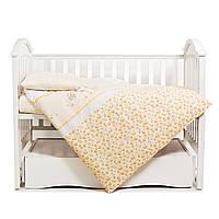 Змінна постіль в дитяче ліжечко Twins Comfort З-023 Зайчики на смужках 3 елемента, жовта