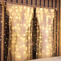 Світлодіодна гірлянда на вікно ВОДОСПАД 3x2 метра 360 WW-3 led Curtain Light 220 v тепле світло