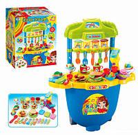 Столик с набором для лепки. Для детей от 3 лет. На колесиках. Витрина. Крючки для аксессуаров. 5 видов теста.