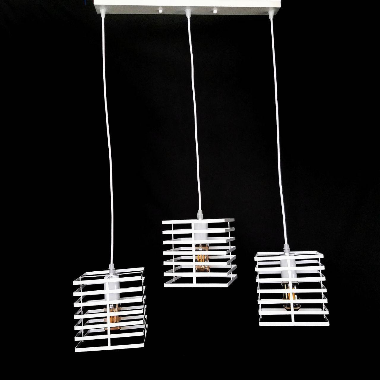 Люстра подвесная на 3 лампы в стиле лофт  белая  YS-TY001-P/3  WH