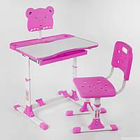Парта детская для девочек. Регулируемая. Со стульчиком. Выдвижной ящик под столешницей. РОЗОВАЯ. арт. 1140