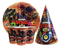 """Набор для детского Дня рождения """"Brawl stars"""". Тарелки, стаканы, колпачки по 10 шт."""