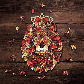 Дерев'яні пазли Лісове королівство Король лев 26х30 см 229 деталей Дерев'яний пазл Forest Kindom Хоробрий лев