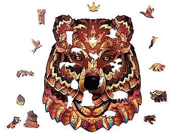 Дерев'яна яний пазл Лісове королівство Ведмідь 24х20см 114 деталі Дерев'яний пазл Forest Kindom Могутній