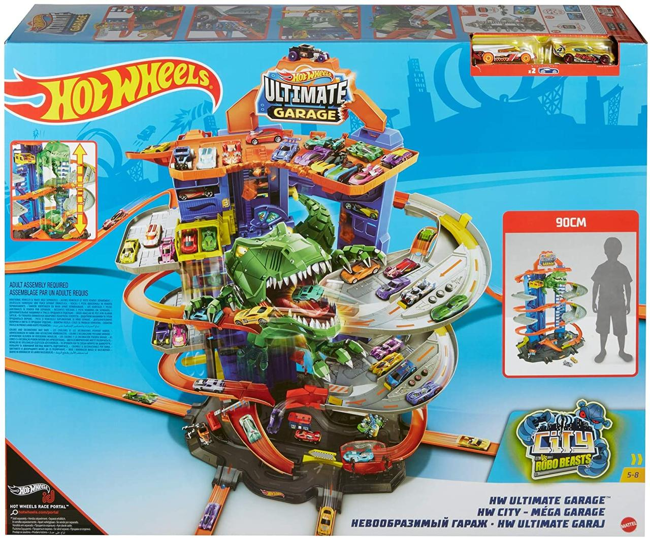 Гараж Ультимейт Хот Вилс с динозавром Hot Wheels City Robo T-Rex Ultimate Garage GJL14
