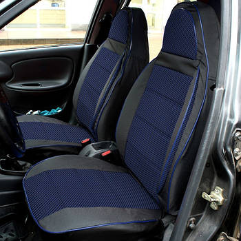 """Чехлы сидений """"Пилот"""" ВАЗ 2109 - 21099 тканевые черно-синие"""
