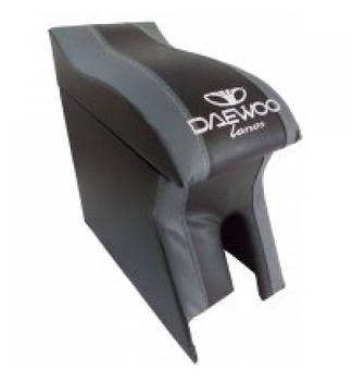 Подлокотник Daewoo Lanos черно-серый с логотипом (изогнутый)