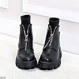 Крутые удобные черные деми женские ботинки на утолщенной подошве, фото 2