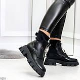 Крутые удобные черные деми женские ботинки на утолщенной подошве, фото 3