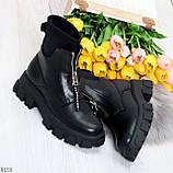 Крутые удобные черные деми женские ботинки на утолщенной подошве, фото 7