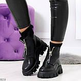 Крутые удобные черные деми женские ботинки на утолщенной подошве, фото 9