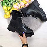 Крутые удобные черные деми женские ботинки на утолщенной подошве, фото 10