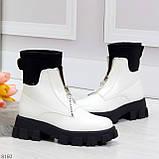 Крутые удобные белые деми женские ботинки на утолщенной подошве, фото 2