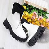 Крутые удобные белые деми женские ботинки на утолщенной подошве, фото 3