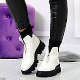 Крутые удобные белые деми женские ботинки на утолщенной подошве, фото 6