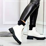 Крутые удобные белые деми женские ботинки на утолщенной подошве, фото 7