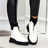 Крутые удобные белые деми женские ботинки на утолщенной подошве, фото 9