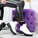 Крутые удобные белые деми женские ботинки на утолщенной подошве, фото 10
