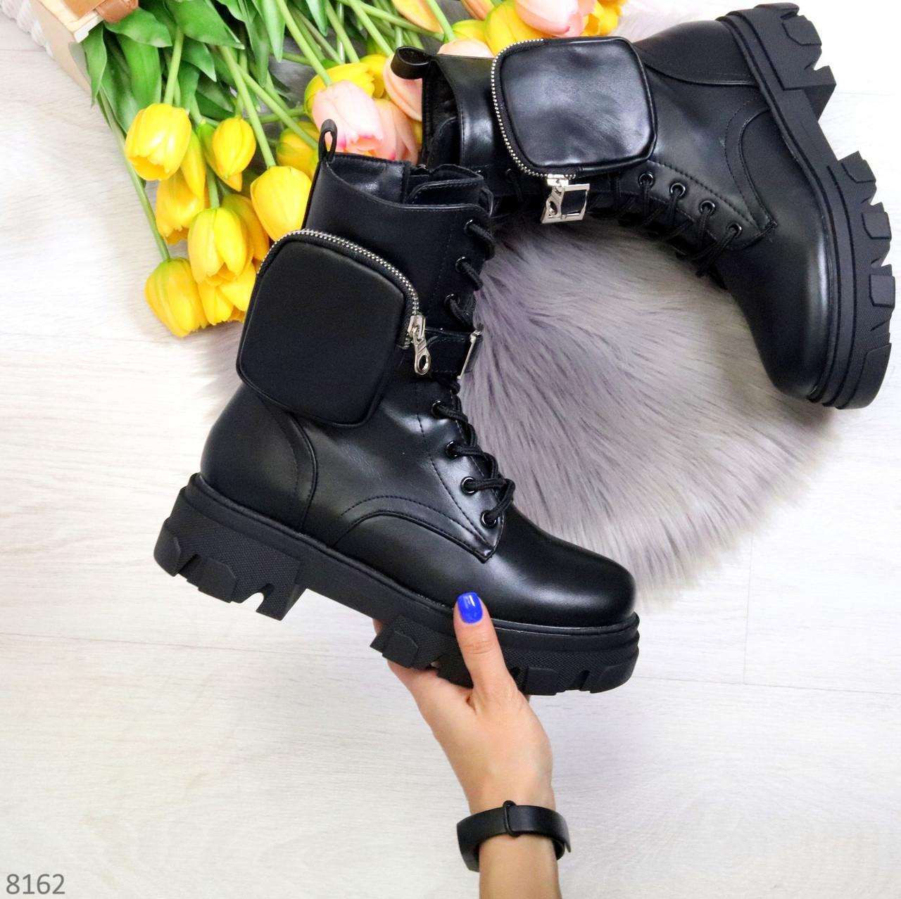 Дизайнерские черные женские ботинки с съемными кошельками сумочками 36-23,5 / 41-26,5см