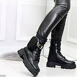 Дизайнерские черные женские ботинки с съемными кошельками сумочками 36-23,5 / 41-26,5см, фото 2