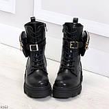 Дизайнерские черные женские ботинки с съемными кошельками сумочками 36-23,5 / 41-26,5см, фото 3