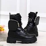 Дизайнерские черные женские ботинки с съемными кошельками сумочками 36-23,5 / 41-26,5см, фото 4