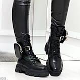 Дизайнерские черные женские ботинки с съемными кошельками сумочками 36-23,5 / 41-26,5см, фото 5