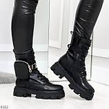 Дизайнерские черные женские ботинки с съемными кошельками сумочками 36-23,5 / 41-26,5см, фото 7