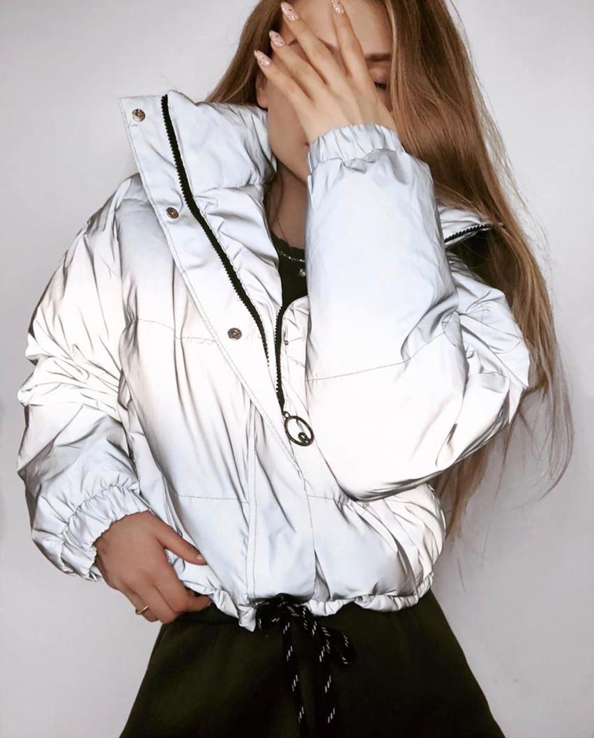"""Жіноча зимова куртка до великих розмірів """"Плащівка Рефлекс"""" (42-1269)"""