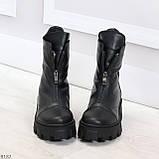 Мега удобные модельные зимние черные женские ботинки натуральная кожа, фото 3