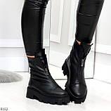 Мега удобные модельные зимние черные женские ботинки натуральная кожа, фото 4