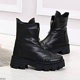 Мега удобные модельные зимние черные женские ботинки натуральная кожа, фото 5