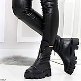 Мега удобные модельные зимние черные женские ботинки натуральная кожа, фото 6