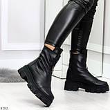 Мега удобные модельные зимние черные женские ботинки натуральная кожа, фото 7