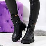 Мега удобные модельные зимние черные женские ботинки натуральная кожа, фото 8