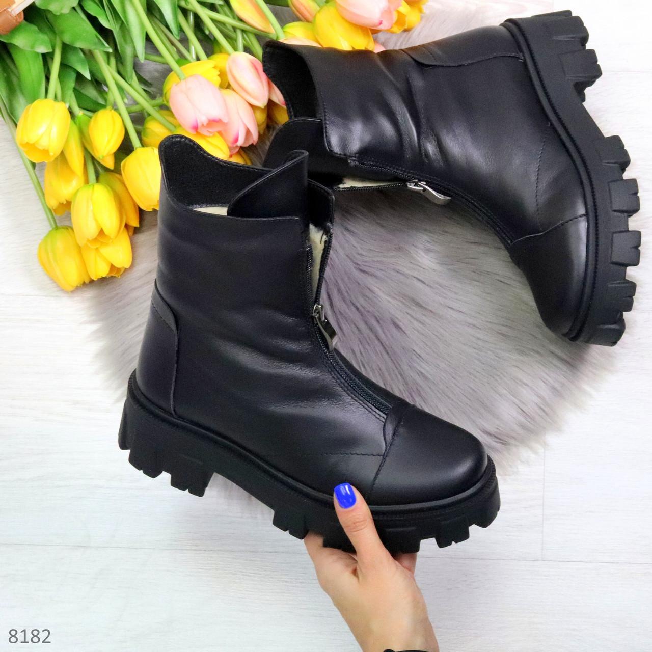 Мега удобные модельные зимние черные женские ботинки натуральная кожа