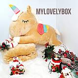 Казковий єдиноріг 3 в 1 (плед+іграшка+подушка) Бежевий!, фото 2