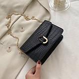 Женская классическая сумочка черная кросс-боди на цепочке рептилия клатч черный, фото 6
