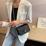 Женская классическая сумочка черная кросс-боди на цепочке рептилия клатч черный, фото 5
