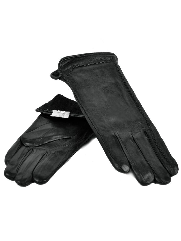 Перчатка Женская кожа F24-17/1 мод2 black флис