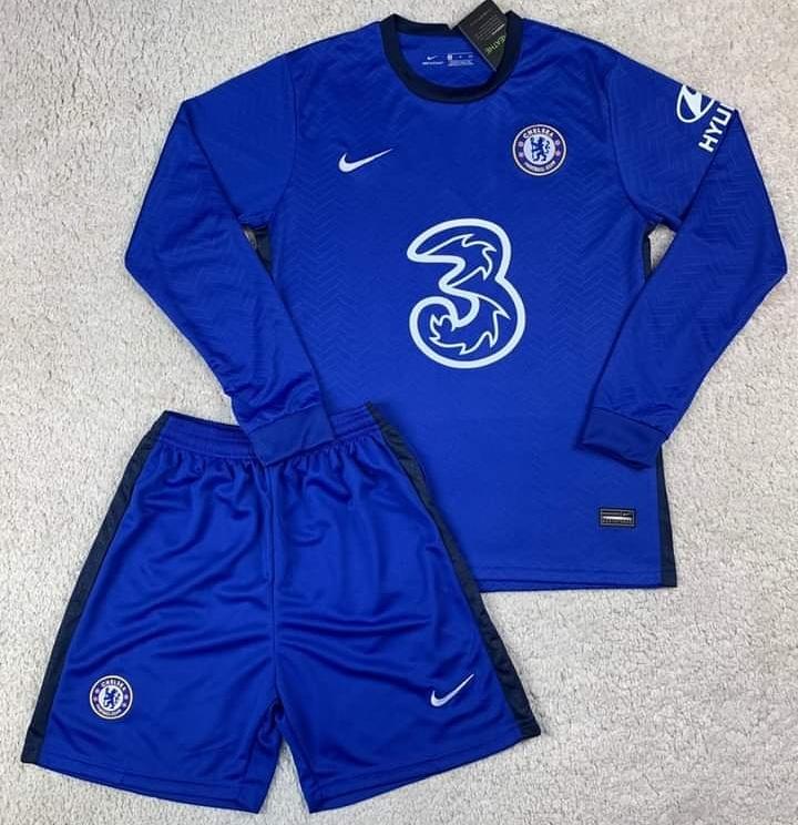 Футбольная форма Челси длинный рукав синяя сезон 2020-21