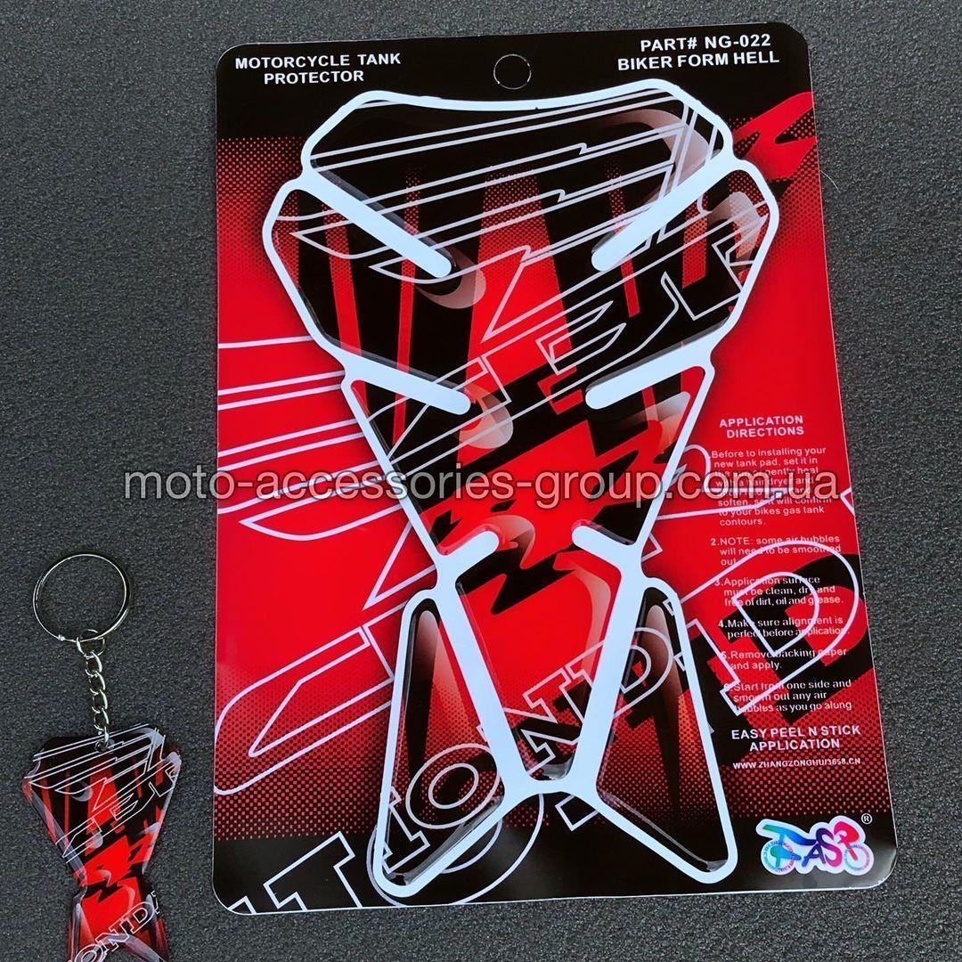 Наклейка на бак мотоцикла + брелок, силиконовая с принтом Honda Red