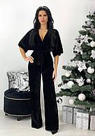 Вечерний черный женский комбинезон из бархата АА/-11389
