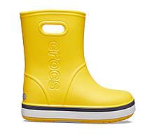 Сапоги резиновые детские дождевики Кроксы с полоской / Crocs Kids Crocband Rain Boot (205827), Желтые