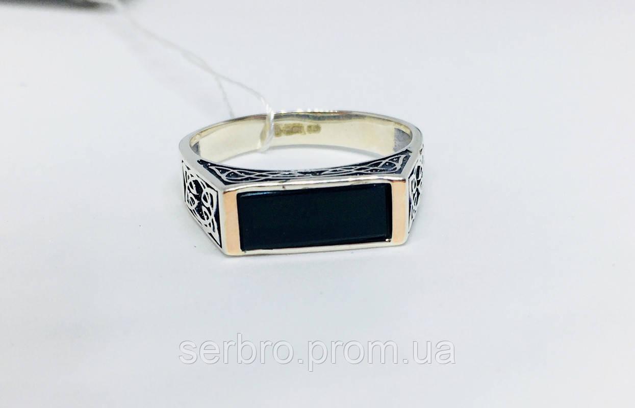 Печатка серебре в с  золотом и ониксом Кевин