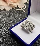 Серебряное кольцо с черными цирконами Эми, фото 3
